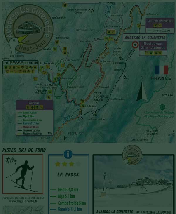 Circuits de ski de fond autour de l'Auberge Laguienette de Bellecombe - Les 3 cheminées - dans le Haut-Jura.