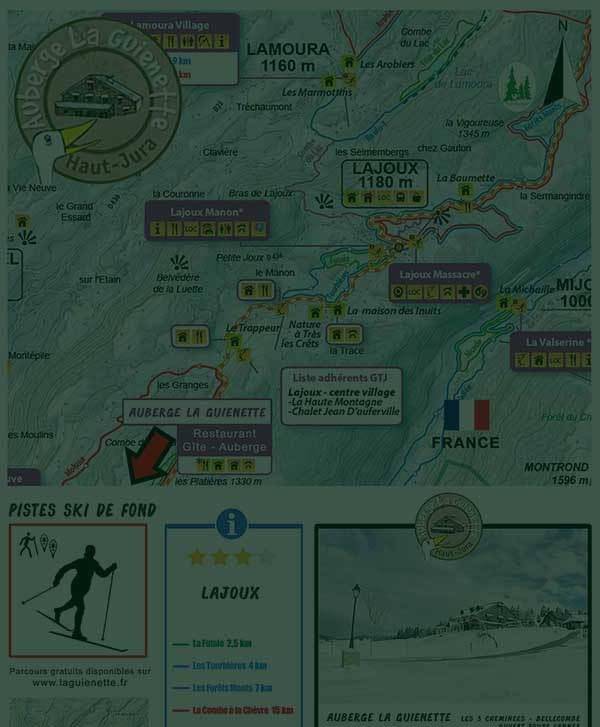 Circuits lajoux de ski de fond autour de l'Auberge Laguienette de Bellecombe - Les 3 cheminées - dans le Haut-Jura.